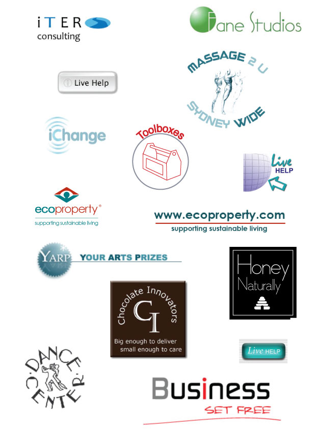 A selection of various logos designed by Nicole Phillips.