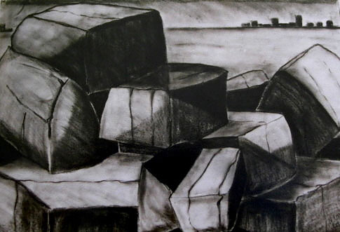 Compressed charcoal on paper