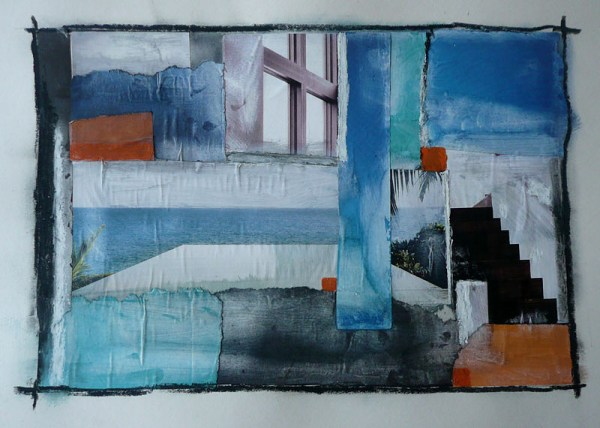 Collage of glossy magazine paper, oil pastel on paper exploring colours of orange and blue