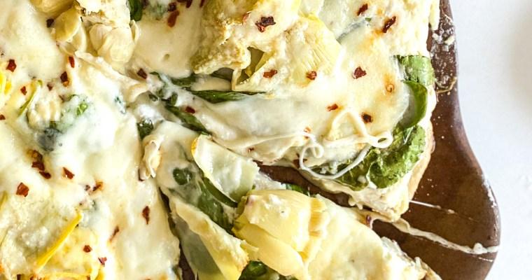 "Spinach Artichoke ""Dip"" Pizza"