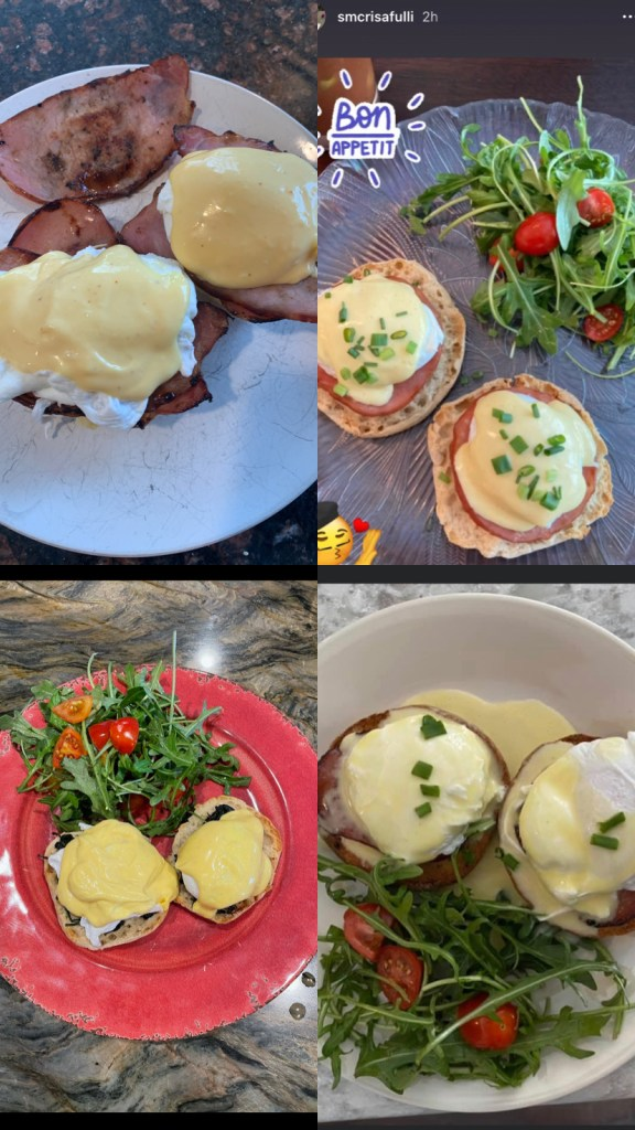 Eggs Benedict with a Simple Arugula Side Salad