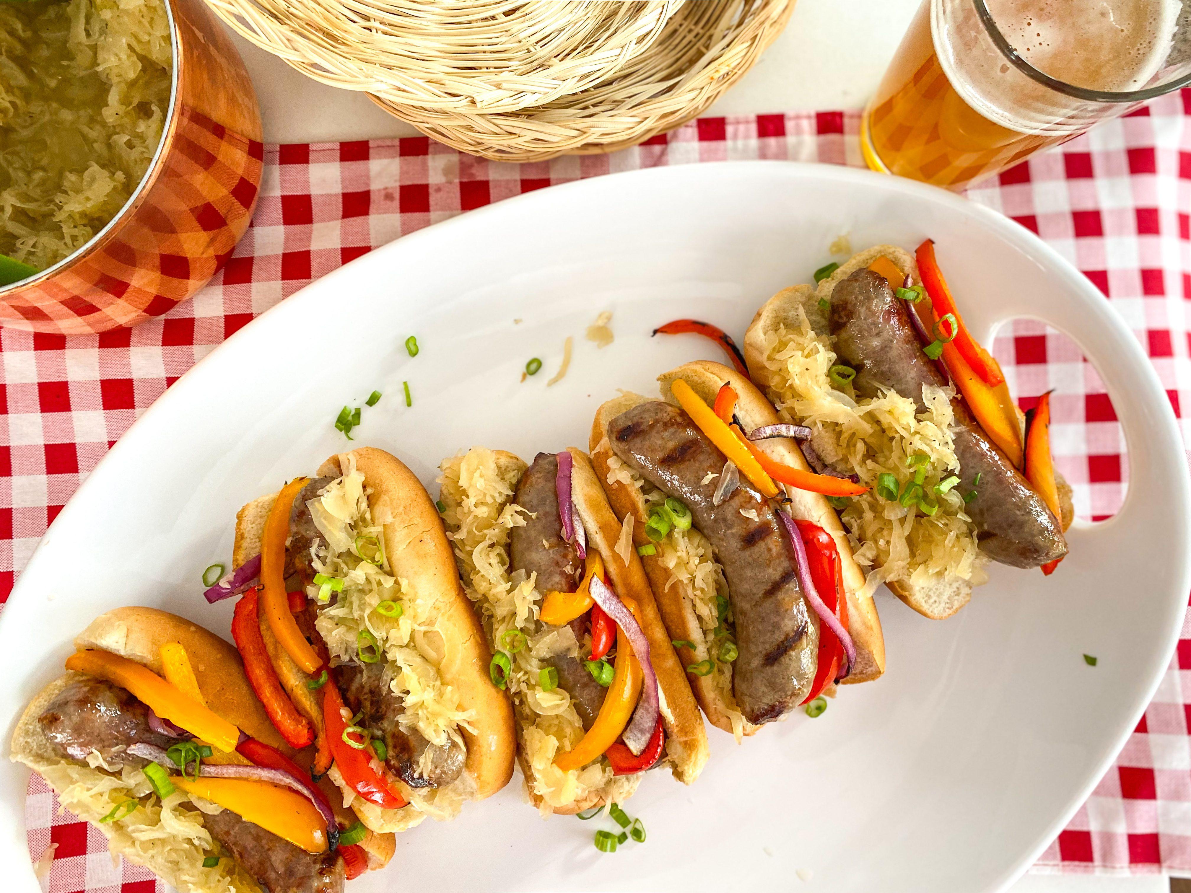 Grilled Bratwursts with IPA Sauerkraut