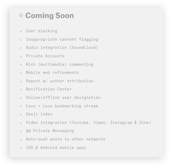 """Coming Soon"" features on Ello. (As of Sept 28, 2014.)"