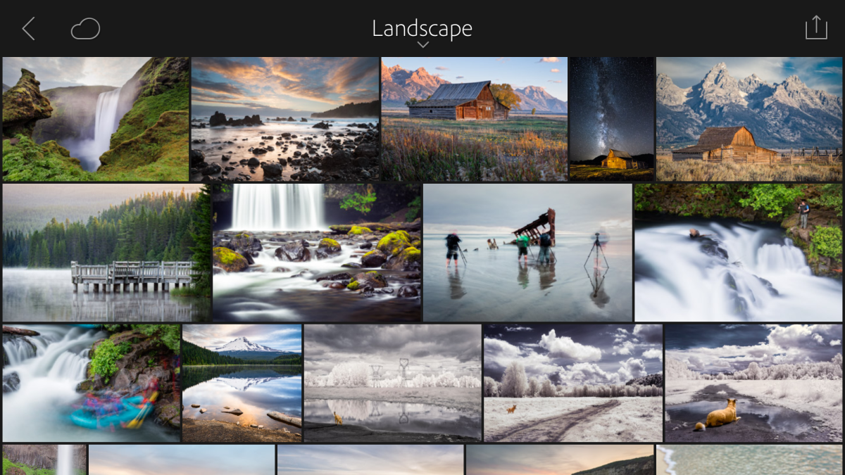 This is a glimpse of my Landscape portfolio in Lightroom Mobile on my iPhone.
