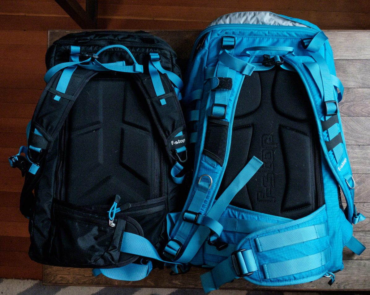 A front-view (where the bag opens) of the Kashmir UL (left) and Loka (right).
