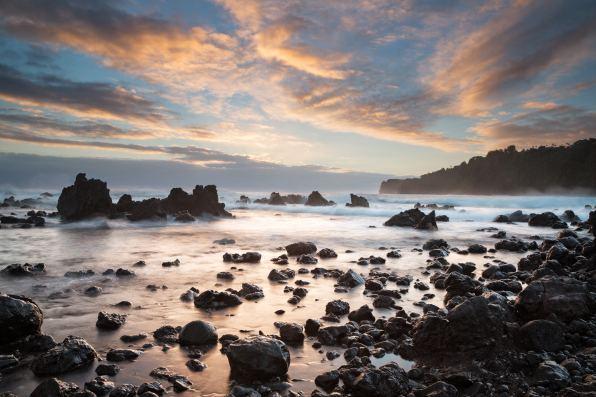 The sunrise at Punalu'u Beach