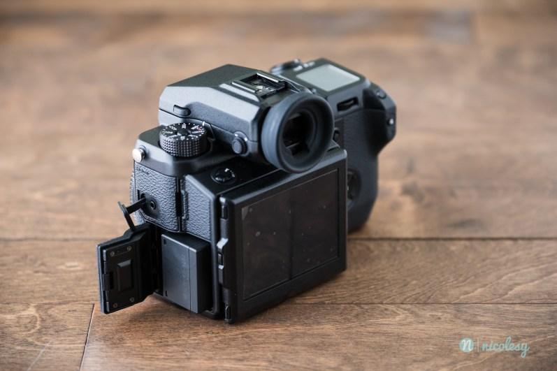 The Fujifilm GFX 50S (battery slot)