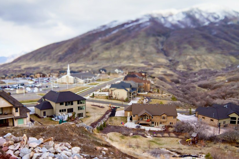 A tilt-shift camera helped create a miniature effect on this small town.