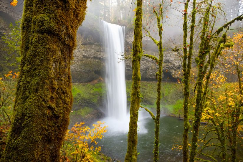 A shutter speed of only 0.5 seconds is all that was needed to blur the waterfall in this image.