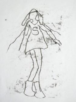Supergirl (monotypie, 30 x 40 cm)