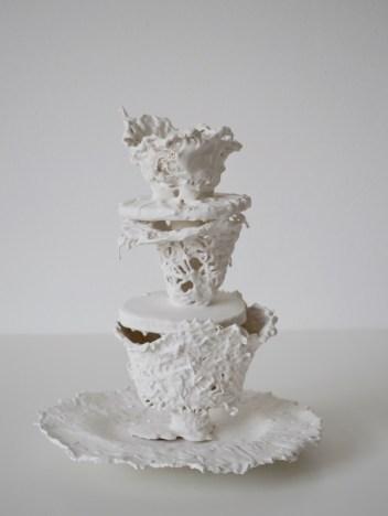 Tablepiece I (paper, porcelain-like casting compound, height 30 cm )