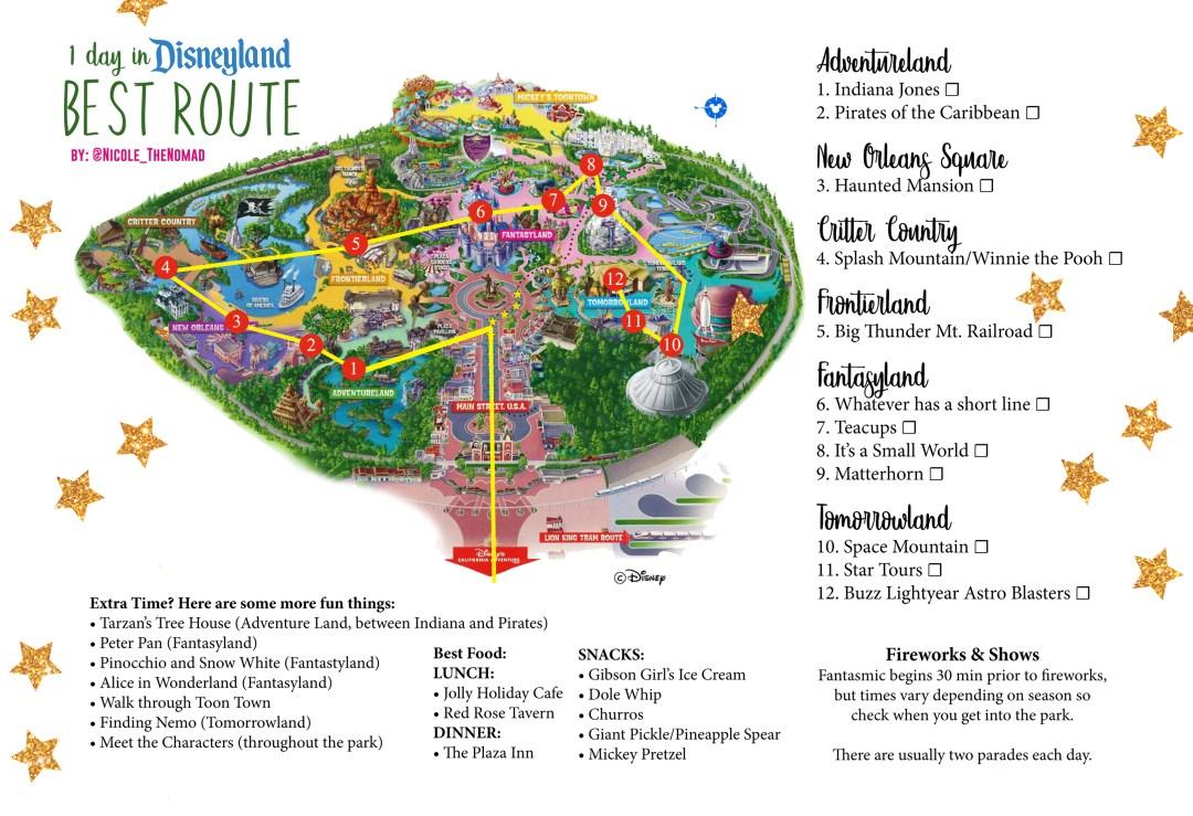 Disneyland map route