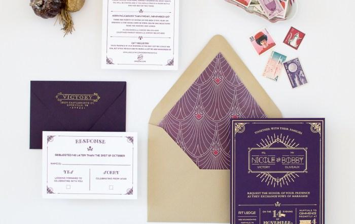Rustic Art Deco Wedding Invitations | Nicole Victory Design