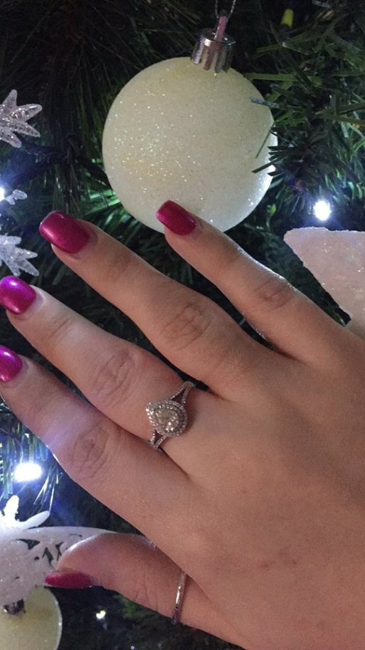 Nicole Williams Receives Hugh Pear Diamond Ring For Christmas