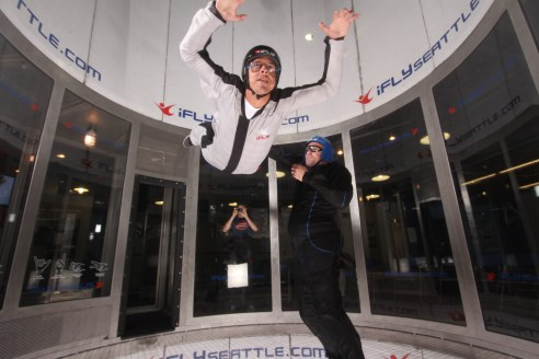 Cole in the wind tunnel, courtesy of his sky diving friend.  Fly, Cole. Fly!