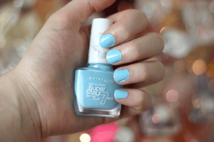 Maybelline Super Stay 7 Days Gel Polish Uptown Blue Nail Swatch