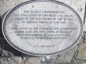 Plaque to commemorate those evacuated from Guernsey to England in June 1940 ahead of the German occupation of the island