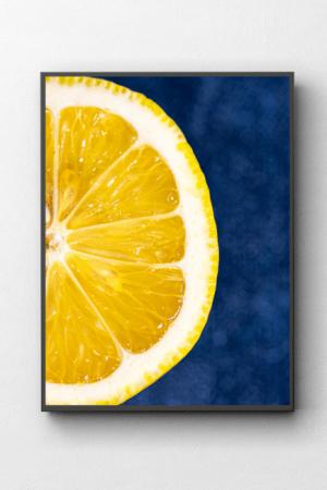 Cytryna zdjęcie kulinarne makro obraz n ścianę