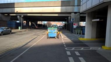 Cycle Path blocked - road or sidewalk?