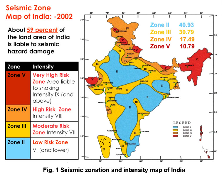 Image result for earthquake prone areas in india