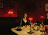 John Singer Sargent - Le verre de porto (A Dinner Table at Night) - Google Art Project