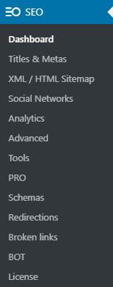 Seopress Pro Admin Menu