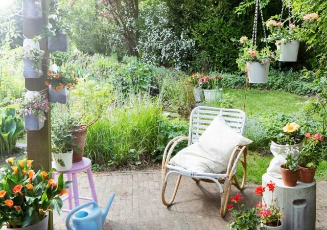 Pionowy ogródek zplastikowych butelek nasłupie. Fot.Fot.Flower Council of Holland/thejoyofplants.co.uk