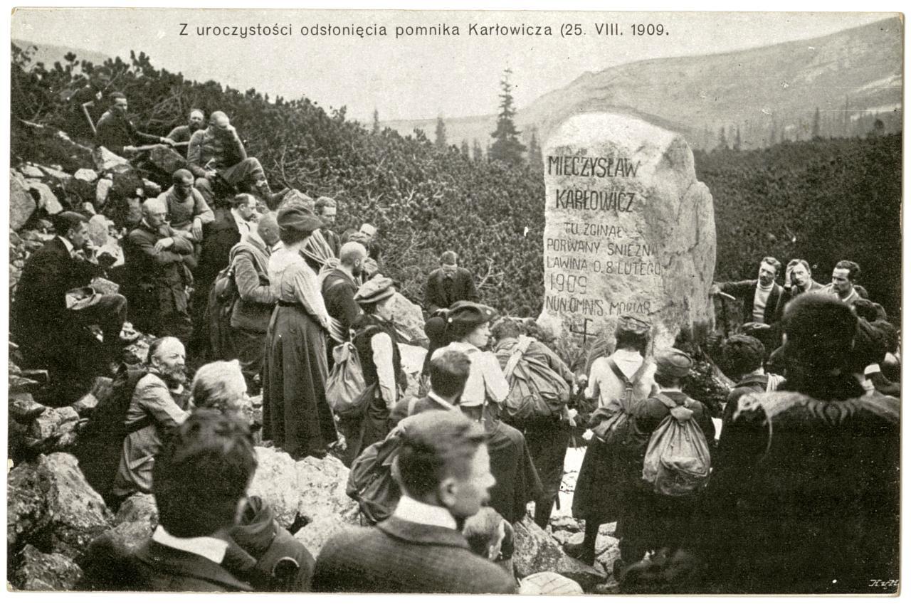 Uroczystość odsłonięcia pomnika Karłowicza 1909 r.