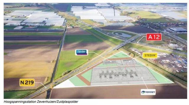Nieuw hoogspanningsstation naast N219/A12