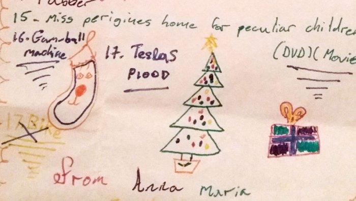 Tesla Model S on Santa List