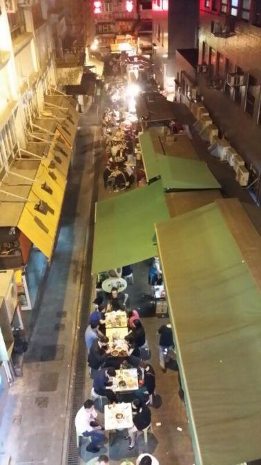Street full of snack shacks