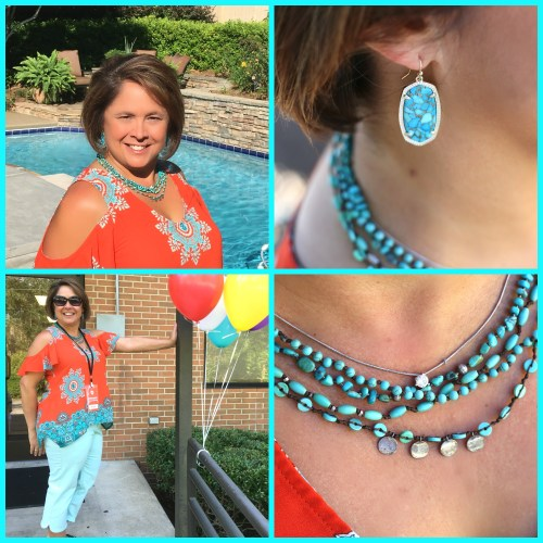 collage of turquoise top
