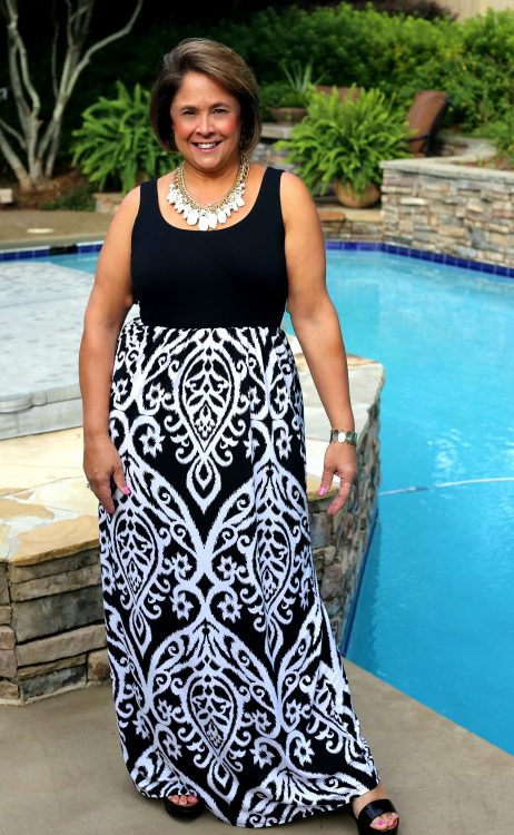 Transition to fall black & white ikat maxi dress