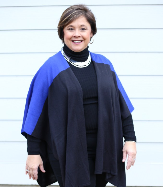 My base for this outfit is black turtleneck and black jeans. Then I have many options to add on top to create chic looks. Nifty50andfabulous.com