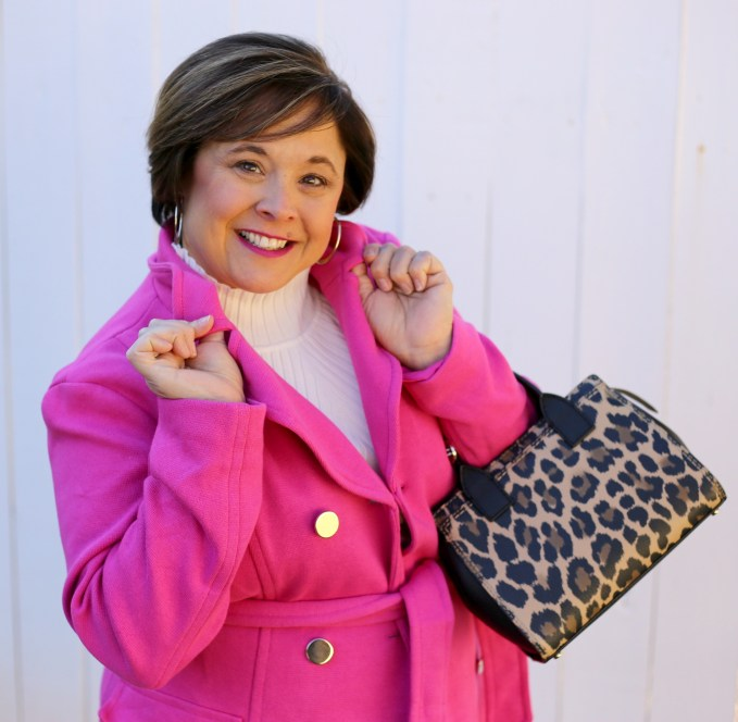 Pink Winter Coat From Macy's INC And Kate Spade Purse
