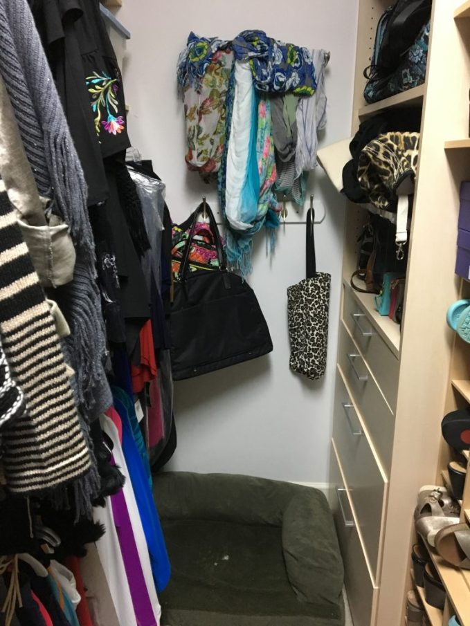 Using back wall to hang additional scarves and totes for easy access