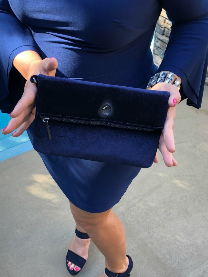 What To Wear To An Evening Wedding-Navy clutch from Charming Charlies