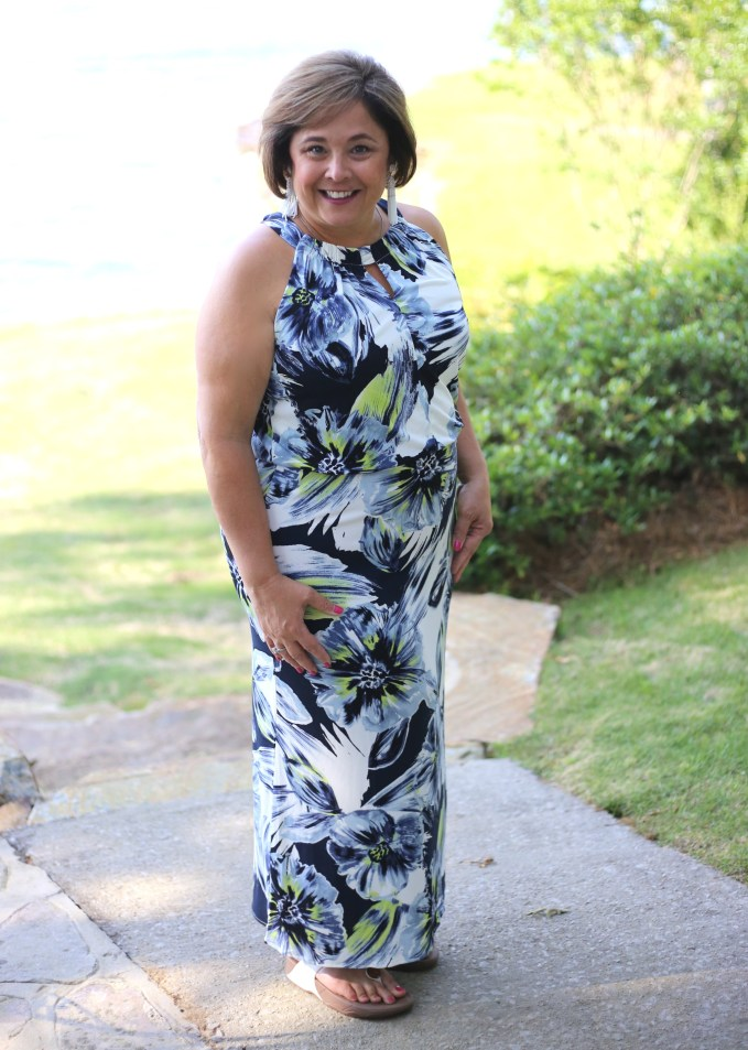 What to wear to poolside dinner? Try Floral Maxi from Chicos.