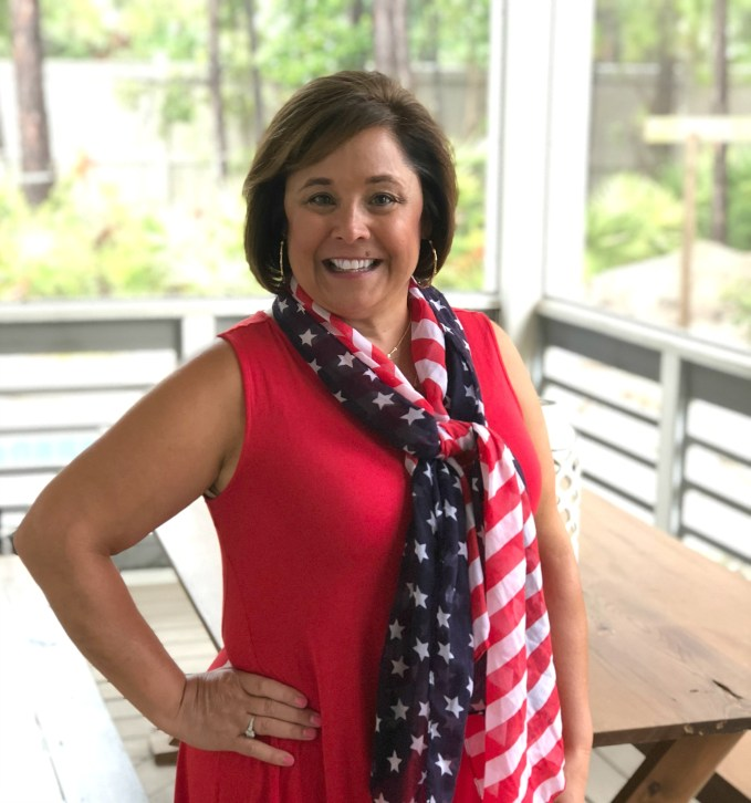 Red dress and Target scarf for Patriotic Style