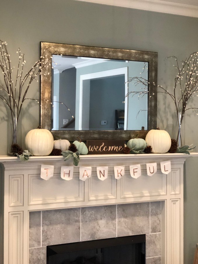 How to Decorate With White Pumpkins- fall fireplace mantle decorations