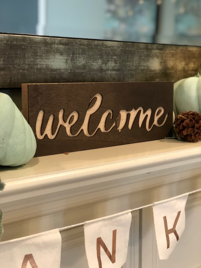 wooden fall welcome sign
