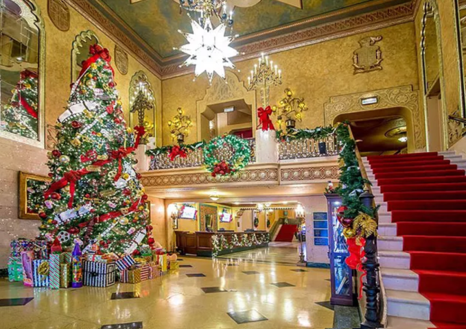 Holiday Decorations Inside Alabama Theater