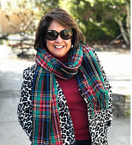 leopard coat with plaid scarf