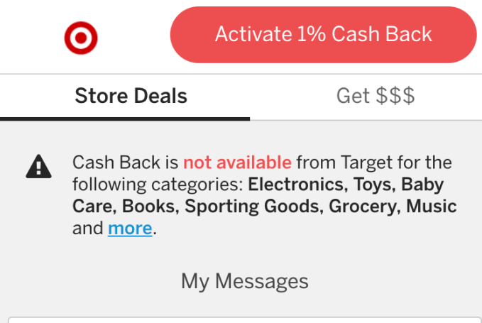Rakuten cash back deal for Target