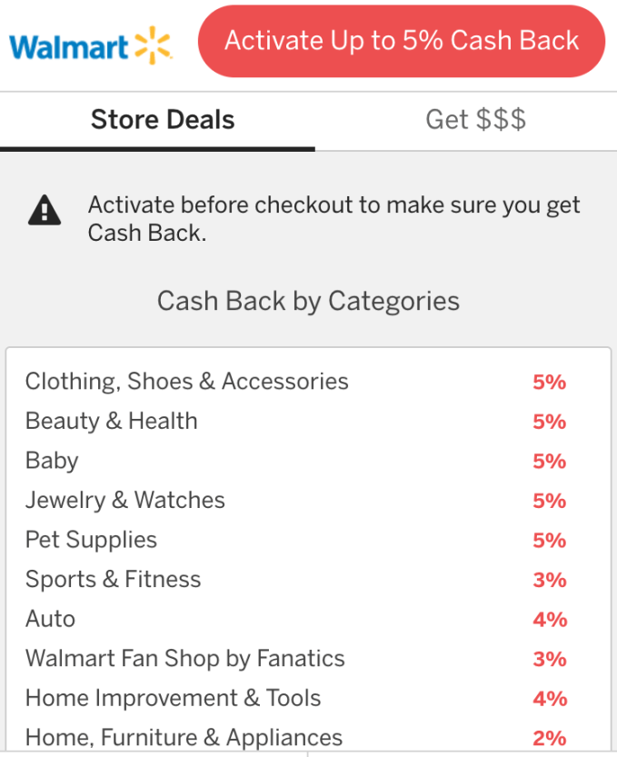 Rakuten cash back deal for Walmart
