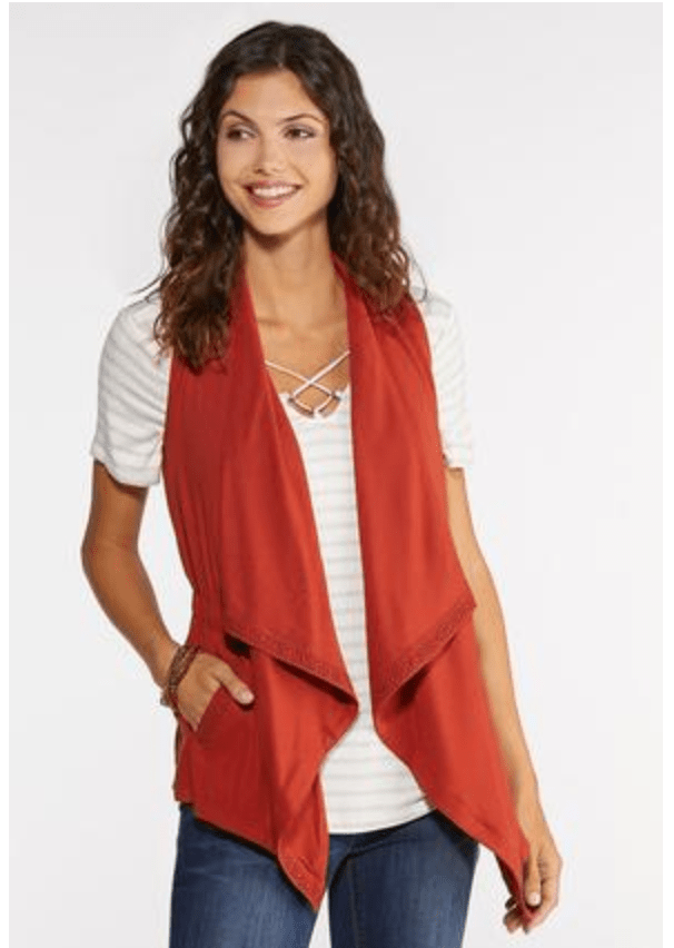 Cato Crochet Trim Vest in Rust