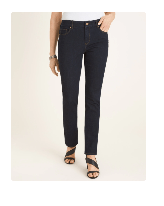 Straight cut jeans are more flattering on pear shaped women than skinny jeans
