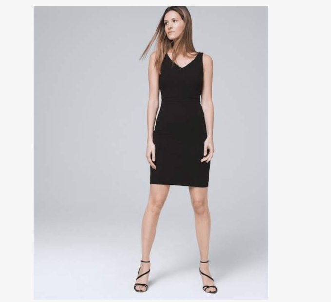 Newer fabrics make this body perfecting sheath dress figure flattering