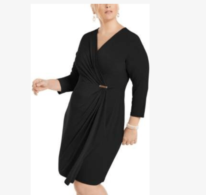 Wrap style little black dress is great for those who want to create a waist line