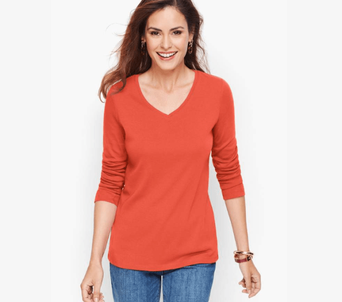 V-neckt tops are flattering to all figures.  This one is from Talbots